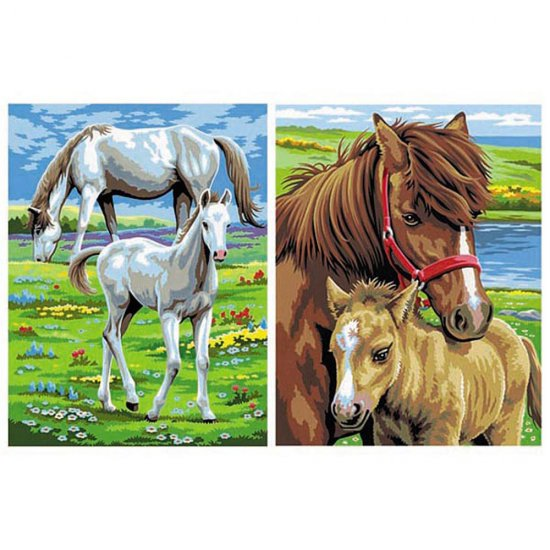 Рисуване по номера на две картини - Коне