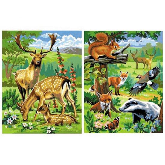 """Рисуване по номера - две картини """"Диви животни"""""""