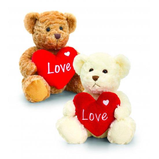 Мече Бакстър със сърце, кафяво, 25 см, За влюбени