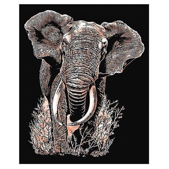 Гравиране на медна основа - Слон