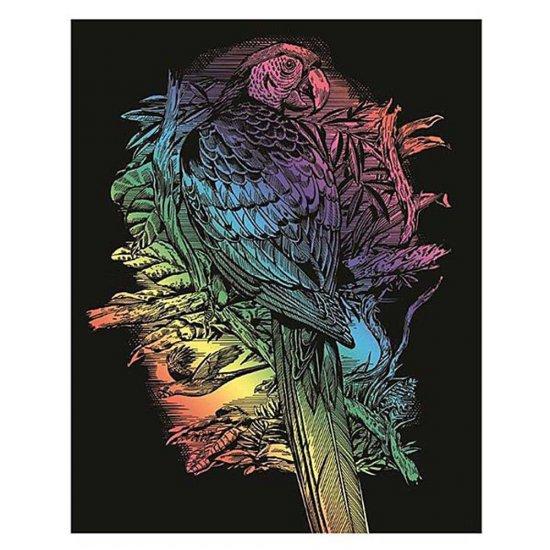 Гравиране на цветна основа - Папагал