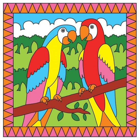 Комплект за рисуване по номера - Папагали/Тропически риби