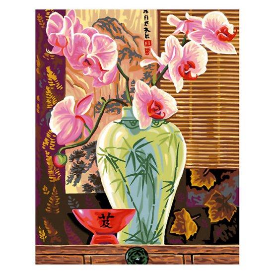 Рисуване по номера с 30 бр. боички - Ваза с орхидеи