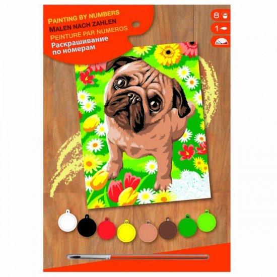 Рисуване по номера с акрилни бои - Мопс