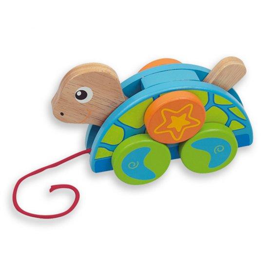 Дървена костенурка за дърпане