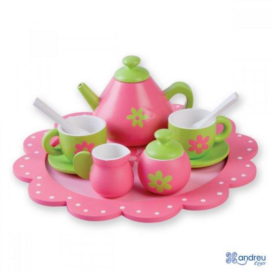 Дървен сервиз за чай, Цветя