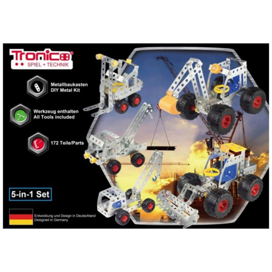 Метален конструктор, Строителни машини, 5 в 1, 167 части, Silver Serie