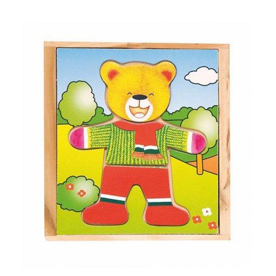 Детска дървена игра - Дрехите на татко Мечо