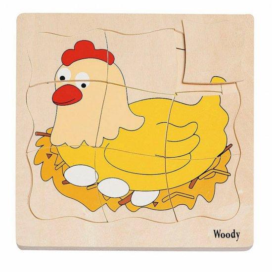"""Дървен многослоен пъзел """"Яйце и кокошка"""""""