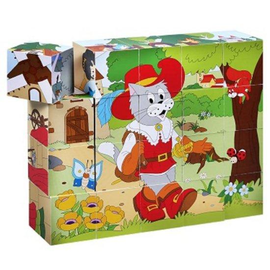 Дървени кубчета с картинки от приказки, 20 броя