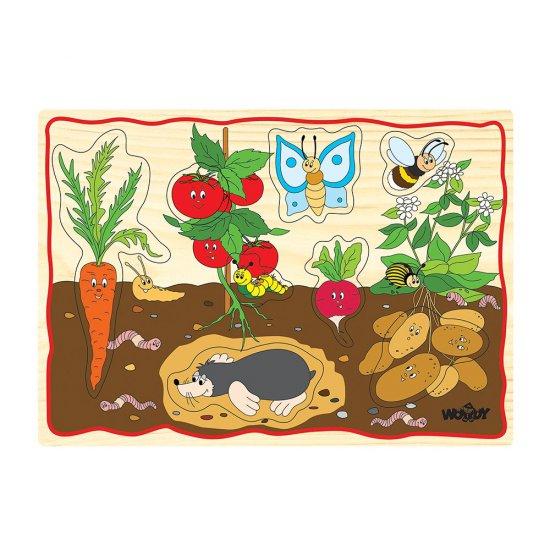 Дървен пъзел с дръжки - Зеленчуци
