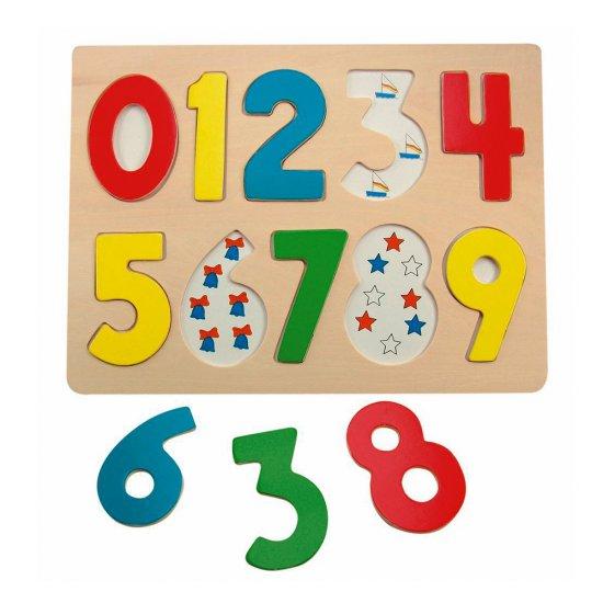 Дървен пъзел с цветни цифри