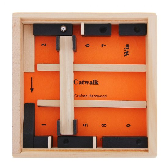 Дървена игра - Лабиринт 12 x 12 см, оранжев