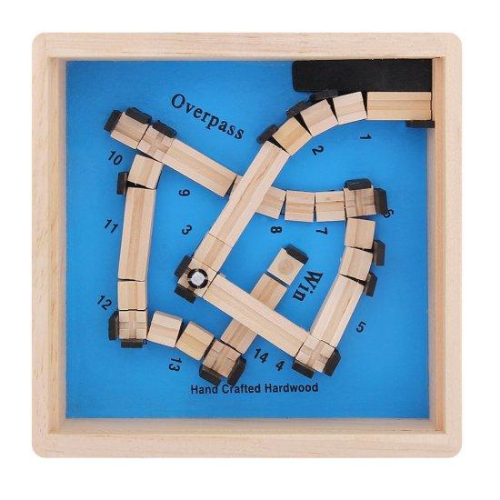Дървена игра - Лабиринт 12 x 12 см, син