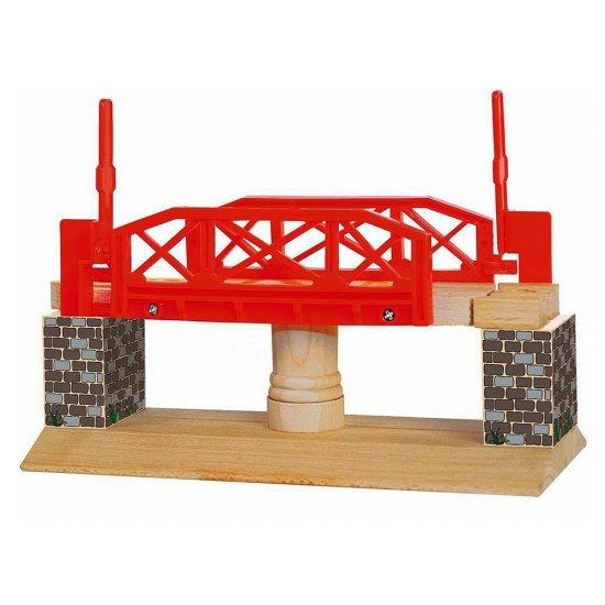 Дървен въртящ се мост за влакче с релси