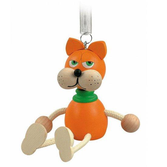 Дървена играчка на пружина - Оранжево коте