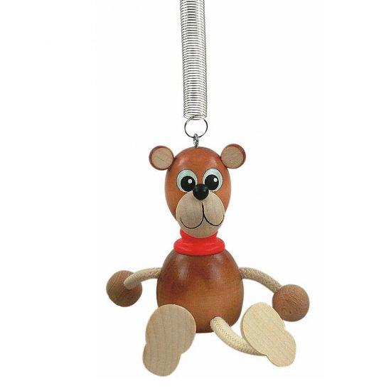 Дървена играчка на пружина - Кафява мечка