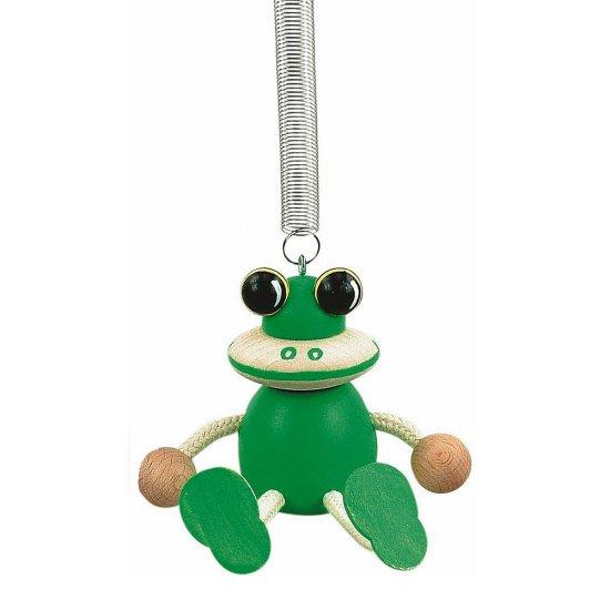 Дървена играчка на пружина - Зелена жабка