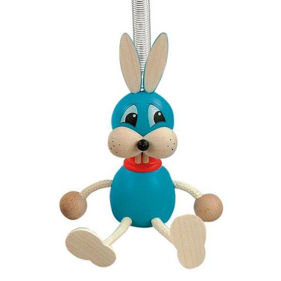Дървена играчка на пружина - Синьо зайче