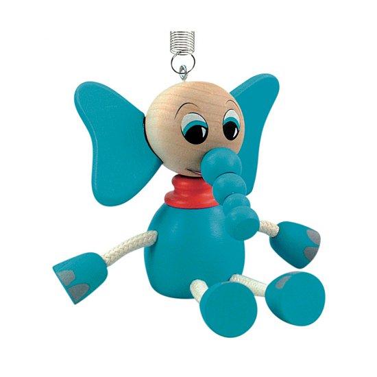Дървена играчка на пружина - Син слон