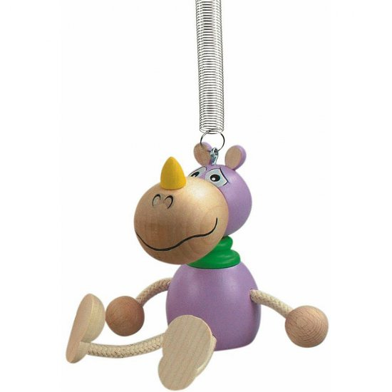 Дървена играчка на пружина - Хипопотам