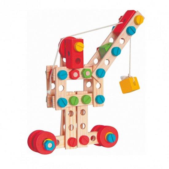 Дървен конструктор в кофа, 130 части