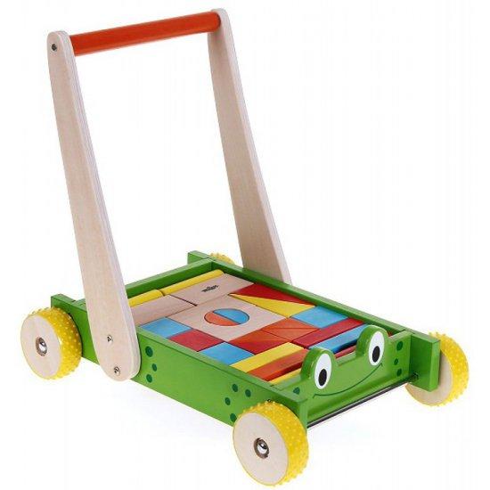 Дървена количка / проходилка с конструктор - Жаба