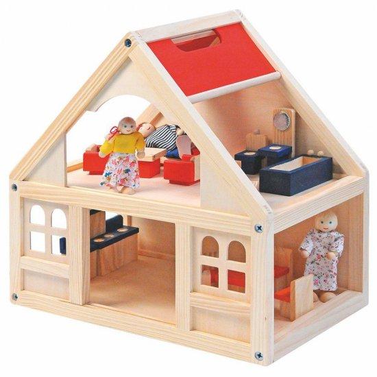 Дървена къща за кукли с аксесоари, 21 части