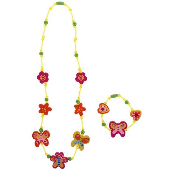 Комплект гривна с колие - Пеперуди и цветя