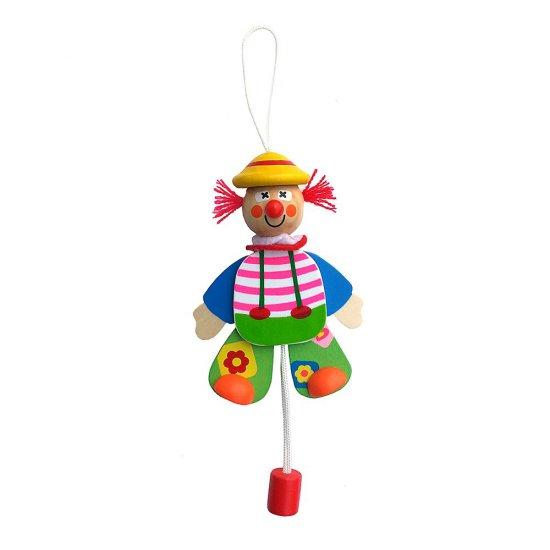 Висяща дървена играчка - Подскачащият Джак с жълта шапка