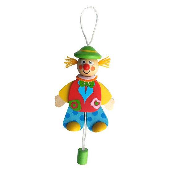 Висяща дървена играчка - Подскачащият Джак със зелена шапка