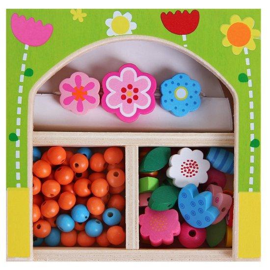 Дървени мъниста в кутия - Цветя