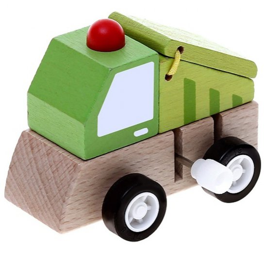 Дървена количка с механизъм - Боклукчийски камион