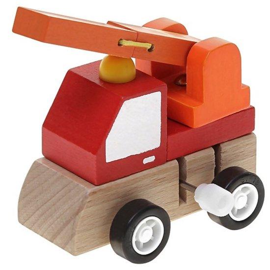 Дървена количка с механизъм - Пожарна