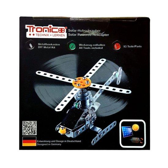 Метален конструктор със соларна батериия, Хеликоптер, 93 части, Silver Serie