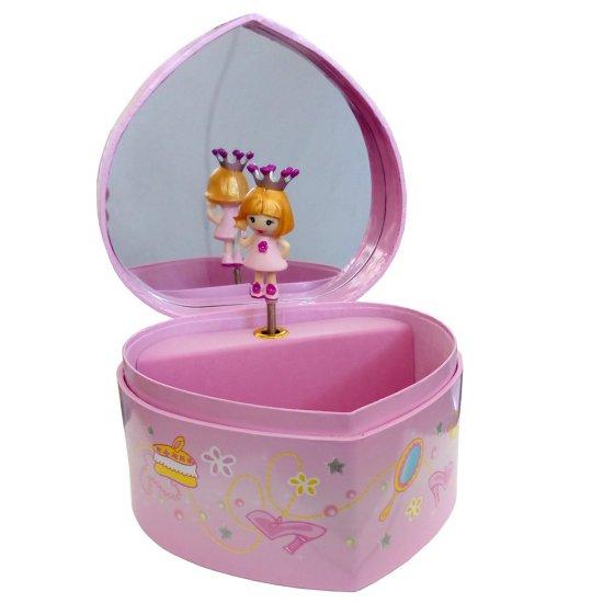Музикална кутия, голямо розово сърце - Принцеса