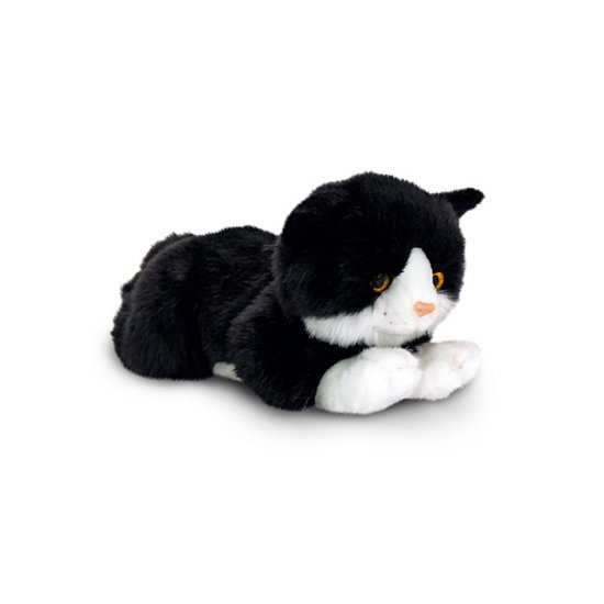 Плюшено черно коте с бели петна, 30 см