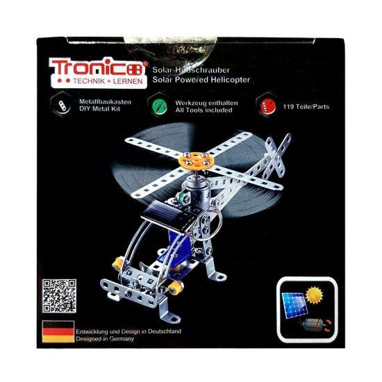Метален конструктор със соларна батерия, Хеликоптер, 119 части, Silver Serie