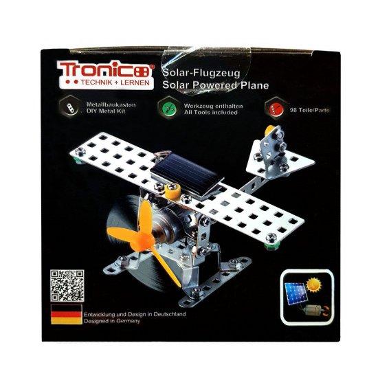 Метален конструктор със соларна батерия, Самолет, 98 части, Silver Serie