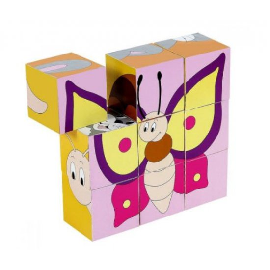 Дървени забавни кубчета с животни