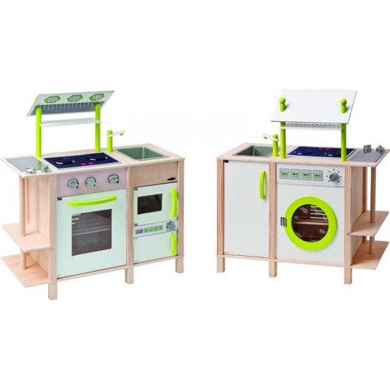 Дървено кухненско обзавеждане с две лица, звук и светлини