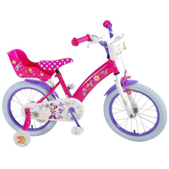 Детски велосипед, Мини Маус, с помощни колела, 16 инча