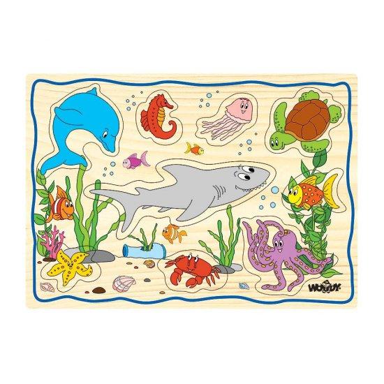 Дървен пъзел с дръжки - Животните под водата