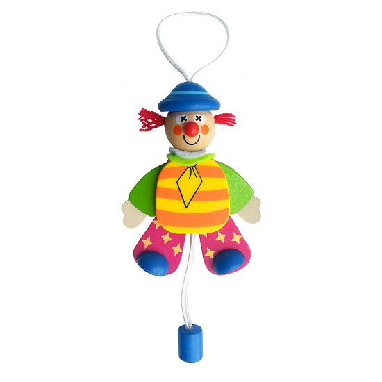 Висяща дървена играчка - Подскачащият Джак със синя шапка