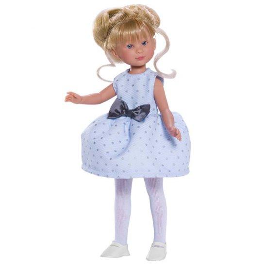 Кукла Силия, със светлосиня рокля и панделка, 30 см