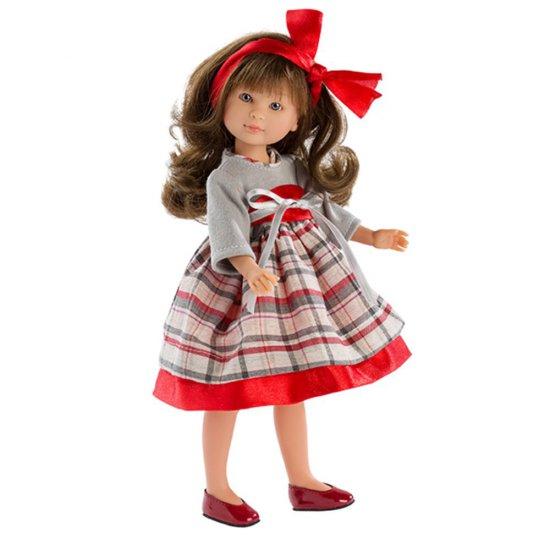 Кукла Силия, с карирана рокля и червена панделка