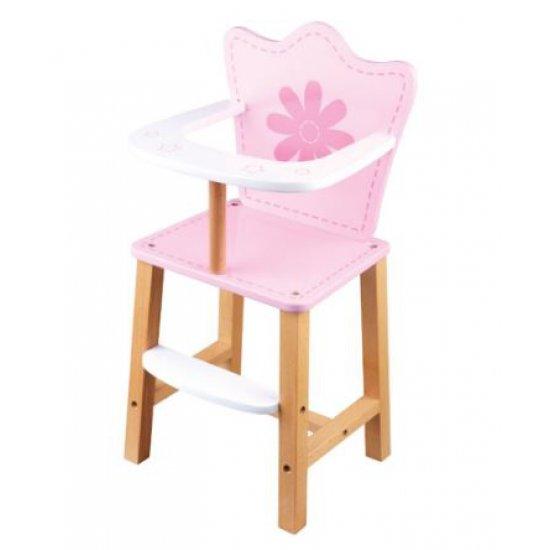 Дървено столче в розово за хранене на кукли