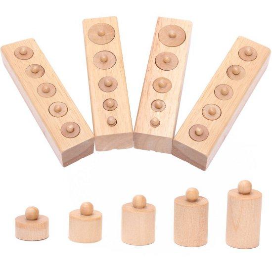 Мини цилиндри с дръжки - Монтесори материали