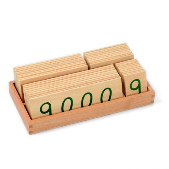 Малки дървени карти в кутия /1 до 9000/ - Монтесори материали