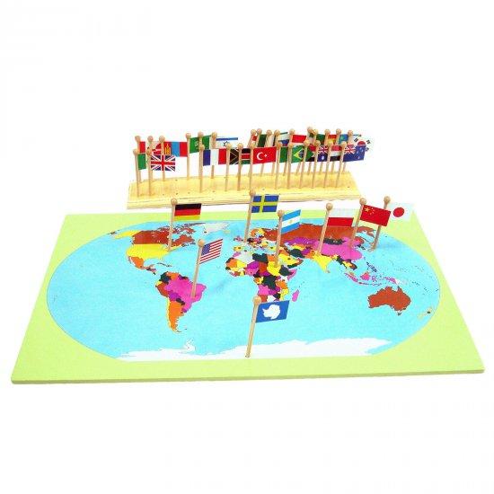 Карта на света със знамена - Монтесори материали
